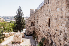Fragment of the fortress walls and Zion Gate street near to the Zion Gate in the  old town in Jerusalem, Israel Stock Image