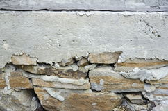 A fragment of the foundation. The stone foundation of reinforced concrete belt strapped royalty free stock image