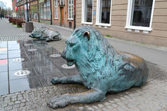 Fragment of the fountain of Four Quarters in Gdansk, Poland Stock Photo