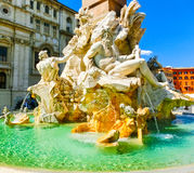 Fragment of a fountain of four rivers on the area of Navona. Rome Royalty Free Stock Photography
