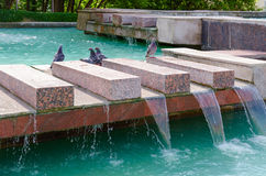 Fragment of fountain Merger of three rivers, Vitebsk, Belarus. VITEBSK, BELARUS - JULY 13, 2016: Fragment of fountain `Merger of three rivers` in sunny summer Stock Photo
