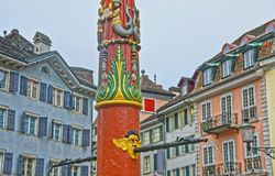 Fragment of Fountain in the Old Town in Solothurn Royalty Free Stock Images