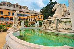 Fragment of fountain palazzo del principe. With marble sculptures Royalty Free Stock Photos