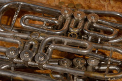 Fragment four trumpet in box royalty free stock image