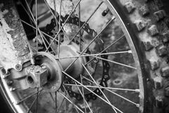 Fragment of front sport motocross bike wheel Royalty Free Stock Photography