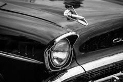 Fragment of a full-size car Chevrolet Bel Air. PAAREN IM GLIEN, GERMANY - MAY 23, 2015: Fragment of a full-size car Chevrolet Bel Air (Second generation). Black Royalty Free Stock Photography