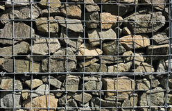 A fragment of gabion wall Royalty Free Stock Photography