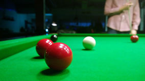 A fragment of the game of Billiards: the position with the balls on the table, and the man standing up Stock Photography