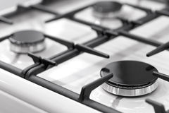 Fragment of a gas kitchen stove Stock Photo