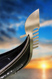 Fragment of Gondola in Venice, Italy. Stock Images