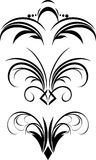 Fragment of gothic ornament. Three patterns Royalty Free Stock Photography