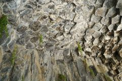 Fragment of granite rock formed by hexagonal structures! stock images