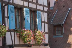 Fragment of a half-timbered house, Colmar, France Royalty Free Stock Image