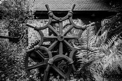 Fragment of the hand-held ancient press overgrown with grass and bushes. Steering wheel of unusual shape in the foreground. Black and white Royalty Free Stock Photos
