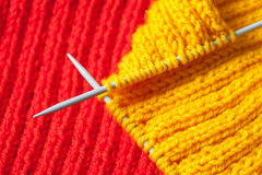 Fragment of a hand knitting Royalty Free Stock Photography