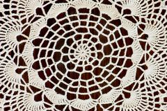 Fragment of a handmade ivory crochet Royalty Free Stock Images