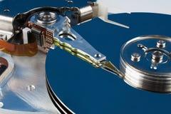 Fragment of hard disk close-up Stock Photos
