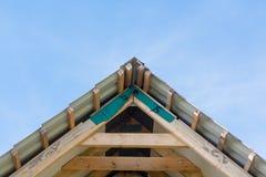 Fragment of hardwood roof. Construction Stock Photo