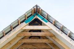 Fragment of hardwood roof. Construction Stock Image