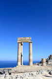 Fragment of Hellenistic stoa. At Lindos Acropolis, Rhodes, Greece Stock Photos