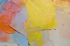 fragment Het Multicolored textuur schilderen Abstracte kunstachtergrond Olie op canvas Ruwe penseelstreken van verf Close-up van  royalty-vrije stock afbeelding
