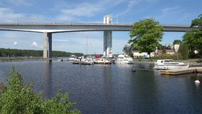 A fragment of a high road bridge on lake Saimaa on a sunny june day. Puumala, Finland stock footage