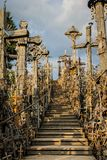 Fragment of the Hill of the Crosses stock photography