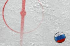 Fragment of the hockey arena with markings and the Russian puck. Fragment of the hockey arena with the central circle and the Russian washer. Concept, hockey royalty free stock photography