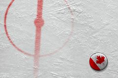 Fragment of the hockey arena with markings and the Canadian puck. Fragment of the hockey arena with the central circle and the Canadian puck. Concept, hockey royalty free stock photos