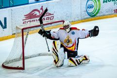 A fragment of the hockey penalty shot performed by the young hockey player Royalty Free Stock Photo