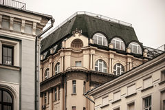 Fragment of the house with pillars and decorations horizontal Stock Photography