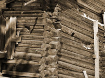 Fragment of house in Russian village. Sepia. Royalty Free Stock Images