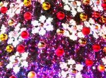 Fragment of illuminated christmas tree Royalty Free Stock Photos