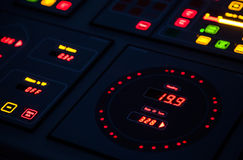 Fragment of illuminated ship control panel Stock Photography