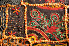 Fragment of Indian patchwork carpet from Rajasthan. Asian craftsmanship Royalty Free Stock Photo