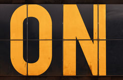 Fragment of industrial banner with ON text label Royalty Free Stock Images