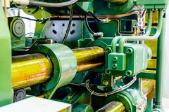 Fragment of the injection molding machine. Stock Image