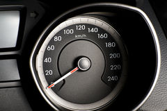 Fragment of instrument panel of car speedometer, tachometer with Stock Photos