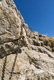 Fragment of the insured chains trail in the mountains Royalty Free Stock Image
