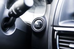 Car interior. Start button. Black and white image royalty free stock photo