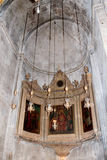 Fragment of the interior of the Church  of the Holy Sepulchre in Jerusalem, Israel. Royalty Free Stock Photography