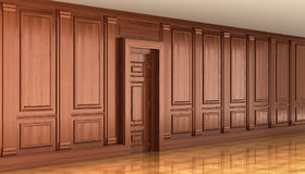 Fragment of the interior of classic wood panels on the wall. dec Stock Photo