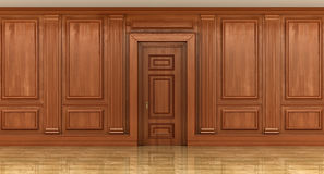 Fragment of the interior of classic wood panels. On the wall. decor element Royalty Free Stock Photo