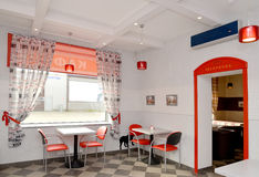 Fragment of an interior of modern cafe. Stylization under London Royalty Free Stock Photos