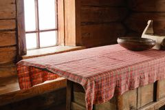 Fragment of the interior of an old peasant hut royalty free stock images