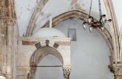 Fragment of the interior of the Room of  the Last Supper in Jerusalem, Israel. Royalty Free Stock Images