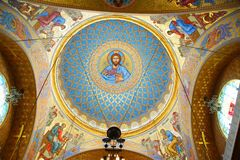 Fragment of the interior of the St. Nicholas Cathedral. In Kronstadt Stock Images