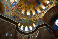 Fragment of the interior of the St. Nicholas Cathedral. In Kronstadt Stock Image