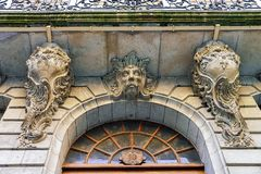 Fragment of International museum of reformation in Geneva. Fragment of Facade of International museum of reformation on Saint Pierre Square in Geneva Royalty Free Stock Photos