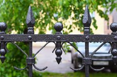 Fragment of  iron fencing during a summer rain Royalty Free Stock Photography